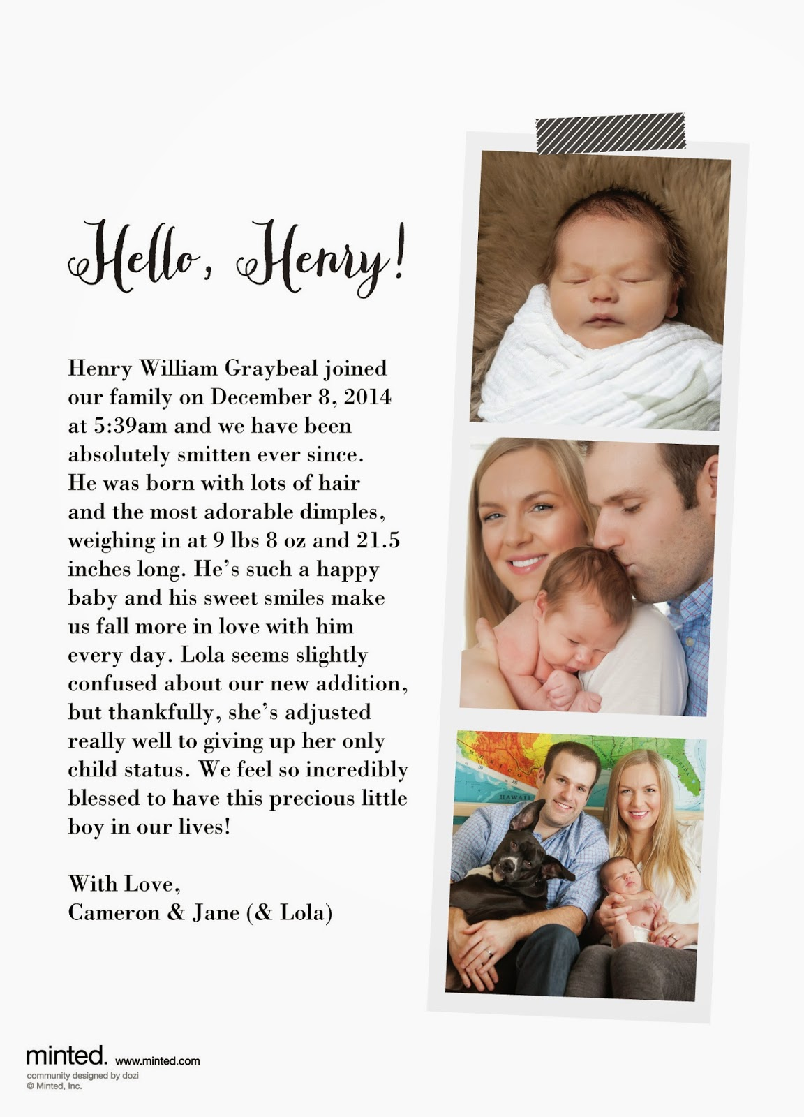 Henry // Minted Birth Announcements – Jane Graybeal